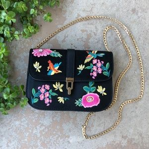 Topshop Floral Sparrow Embroidered Chain Crossbody